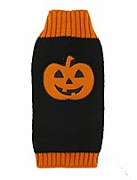 cheap -pet dog halloween pumpkin sweater jumper jacket clothes ugly sweater halloween costume for dogs and cats (s, black + orange)
