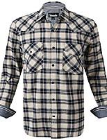 cheap -men's western snap casual shirt two pocket long sleeve flannel shirt (ivorynavy, xl)