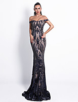 cheap -Mermaid / Trumpet Sexy bodycon Prom Formal Evening Dress Off Shoulder Sleeveless Floor Length Spandex Sequined with Sequin 2020