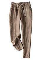 cheap -women's linen pants back elastic drawstring waist tied tapered pants lightweight summer trousers