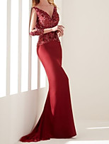 cheap -Mermaid / Trumpet Elegant Sexy Wedding Guest Formal Evening Dress V Neck 3/4 Length Sleeve Sweep / Brush Train Chiffon Lace with Beading 2020