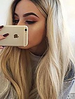 cheap -hairprhocas ombre ash blonde none lace wig with dark roots long natural straight heat resistant synthetic hair wigs for women (19inch) (brown to blonde)