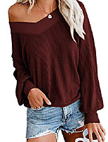 cheap -women oversized tops long sleeve v neck waffle knit tunics blouses pullover sweatshirt red s
