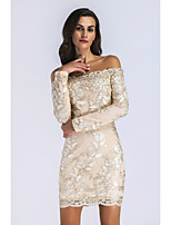 cheap -Women's Sheath Dress Short Mini Dress - Long Sleeve Solid Color Embroidered Spring Elegant Sexy 2020 Gold S M L XL
