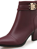 cheap -Women's Boots Block Heel Boots Block Heel Round Toe Booties Ankle Boots Classic Vintage Preppy Daily Office & Career Faux Leather Solid Colored Wine Black / Booties / Ankle Boots