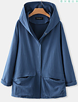 cheap -Women's Single Breasted Coat Regular Solid Colored Daily Active Cotton Blue Yellow Beige S M L XL / Loose