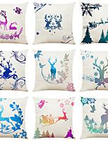 cheap -Set of 9 Elk Creative Christmas Linen Square Decorative Throw Pillow Cases Sofa Cushion Covers 18x18