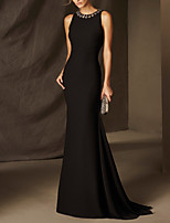 cheap -Mermaid / Trumpet Elegant Beautiful Back Wedding Guest Formal Evening Dress Jewel Neck Sleeveless Sweep / Brush Train Satin with Crystals 2020