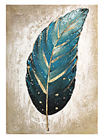 cheap -Frame-less 3D Abstract Golden Feather 100% Hand Painted Oil Painting On Canvas Handmade Modern Canvas Wall Art For Living Room Home Decor