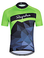 cheap -WECYCLE Men's Women's Short Sleeve Cycling Jersey Polyester Green Geometic Bike Jersey Top Mountain Bike MTB Road Bike Cycling Breathable Quick Dry Reflective Strips Sports Clothing Apparel