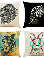 cheap -Set of 4 Art Animal Linen Square Decorative Throw Pillow Cases Sofa Cushion Covers 18x18