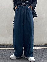 cheap -Women's Sporty Outdoor Loose Daily Wide Leg Pants Pants Solid Colored Full Length High Waist Blue