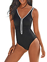 cheap -Women's One Piece Swimsuit Solid Colored Padded Swimwear Bodysuit Swimwear Black Breathable Quick Dry High Elasticity Sleeveless - Swimming Surfing Beach Autumn / Fall Spring / Nylon / Elastane