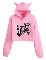 cheap -Inspired by Cosplay Demon Slayer Kamado Nezuko Hoodie Crop Top Hoodie Polyster Top For Women's