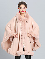 cheap -Women's Fall & Winter Cloak / Capes Regular Solid Colored Daily Active Faux Fur Black Blushing Pink Khaki Green One-Size