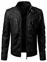 cheap -men's faux leather jacket casual zipper long sleeve motorcycle suit bomber coat (black,large)