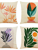 cheap -Set of 4 Art Flowers Linen Square Decorative Throw Pillow Cases Sofa Cushion Covers 18x18