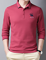 cheap -Men's Golf Polo Shirts Long Sleeve UV Sun Protection Breathable Quick Dry Sports Outdoor Autumn / Fall Spring Winter Cotton Solid Color Black Red Green Dark Navy Gray / Stretchy