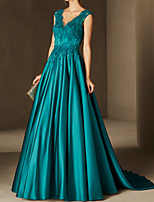 cheap -A-Line Beautiful Back Sexy Engagement Formal Evening Dress V Neck Sleeveless Court Train Satin with Pleats Lace Insert Appliques 2020