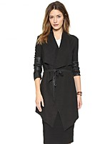 cheap -Women's Coat Long Solid Colored Daily Basic Black S M L XL