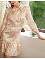 cheap -women's a-line dress short mini dress - long sleeve polka dot floral lace up patchwork print fall elegant mumu going out slim 2020 beige s m l