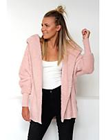 cheap -Women's Fall & Winter Coat Long Solid Colored Daily Basic Black Blushing Pink Khaki Gray S M L XL