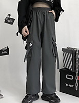cheap -Women's Sporty Outdoor Loose Daily Pants Tactical Cargo Pants Solid Colored Full Length High Waist Black Gray