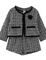 cheap -Kids Girls' Basic Black Houndstooth Long Sleeve Regular Regular Clothing Set Black
