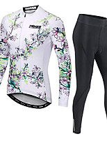cheap -21Grams Men's Long Sleeve Cycling Jersey with Tights Winter Fleece White Floral Botanical Bike Fleece Lining Breathable Sports Graphic Mountain Bike MTB Road Bike Cycling Clothing Apparel / Stretchy