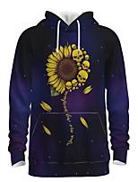 cheap -Daddy and Me Active Sun Flower Galaxy Graphic 3D Print Print Long Sleeve Regular Hoodie & Sweatshirt Purple