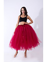 cheap -Ballet Dancer Petticoat Hoop Skirt Tutu Women's Movie Cosplay Vacation Classic Lolita Purple / Red / Dusty Rose Skirts Halloween Carnival Masquerade Organza Cotton