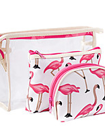 cheap -3pcs Travel Organizer Cosmetic Bag Travel Toiletry Bag Large Capacity Waterproof Travel Storage Durable Transparent Flamingo PVC(PolyVinyl Chloride) For Everyday Use Cycling Portable