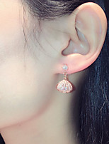 cheap -Women's Pearl Drop Earrings Monogram Shell Romantic Fashion Earrings Jewelry Rose Gold / Silver For Beach Festival 1 Pair