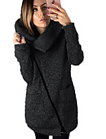 cheap -Women's Fall & Winter Double Breasted Coat Long Solid Colored Daily Basic Blue Red Light gray Dark Gray S M L XL