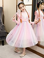cheap -Princess Cosplay Costume Masquerade Girls' Movie Cosplay A-Line Slip Vacation Pink Dress Shawl Halloween Children's Day Masquerade Organza Cotton