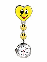 cheap -heart shape smile face nurse fob clip on brooch hanging pocket watch (yellow)