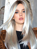 cheap -Synthetic Wig Straight Middle Part Wig Long White Synthetic Hair Women's Fashionable Design Highlighted / Balayage Hair Exquisite White
