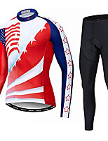 cheap -21Grams Men's Long Sleeve Cycling Jersey with Tights Winter Fleece Red National Flag Bike Fleece Lining Breathable Sports Graphic Mountain Bike MTB Road Bike Cycling Clothing Apparel / Stretchy