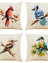 cheap -Set of 4 Creative Watercolor Bird Linen Square Decorative Throw Pillow Cases Sofa Cushion Covers 18x18