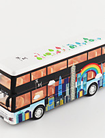 cheap -Alloy Double-decker Bus Toy Car Pull Back Vehicle Simulation Music & Light All Adults Kids Car Toys