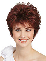 cheap -Synthetic Wig Curly Asymmetrical Wig Short Wine Red Synthetic Hair Women's Fashionable Design Classic Exquisite Burgundy
