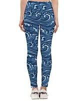 cheap -Women's Sporty Yoga Quick Dry Plus Size Skinny Daily Leggings Pants Print Ankle-Length High Waist Blue