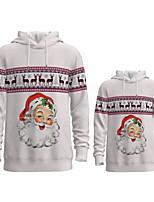 cheap -Daddy and Me Active Santa Claus Graphic 3D Print Animal Print Long Sleeve Regular Hoodie & Sweatshirt Light gray