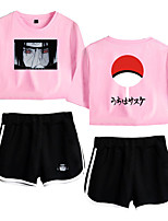 cheap -Inspired by Naruto Cosplay Akatsuki Uchiha Outfits Crop Top Pure Cotton Print Printing Shorts For Women's