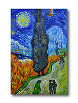 cheap -Stretched Oil Painting Hand Painted - Abstract Contemporary Modern Canvas High Quality Van Gogh repro Cypress Starry Night