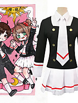 cheap -Inspired by Card Captor Kinomoto Sakura Anime Cosplay Costumes Japanese Cosplay Suits Shirt Top Skirt For Women's / Tie