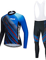 cheap -21Grams Men's Long Sleeve Cycling Jersey with Bib Tights Winter Fleece Polyester Blue Bike Clothing Suit Thermal Warm Fleece Lining Breathable 3D Pad Quick Dry Sports Graphic Mountain Bike MTB Road