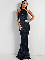 cheap -Mermaid / Trumpet Beautiful Back Sexy Prom Formal Evening Dress Halter Neck Sleeveless Floor Length Spandex Sequined with Sequin 2020