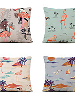 cheap -Cushion Cover 4PC Linen Soft Decorative Square Throw Pillow Cover Cushion Case Pillowcase for Sofa Bedroom 45 x 45 cm (18 x 18 Inch) Superior Quality Mashine Washable Flamingo Animal Pattern