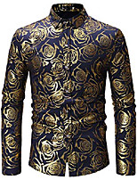 cheap -fashion men's black/gold shirts shiny rose printed slim fit button down dress shirt for 70s disco/party m304-navy-xl